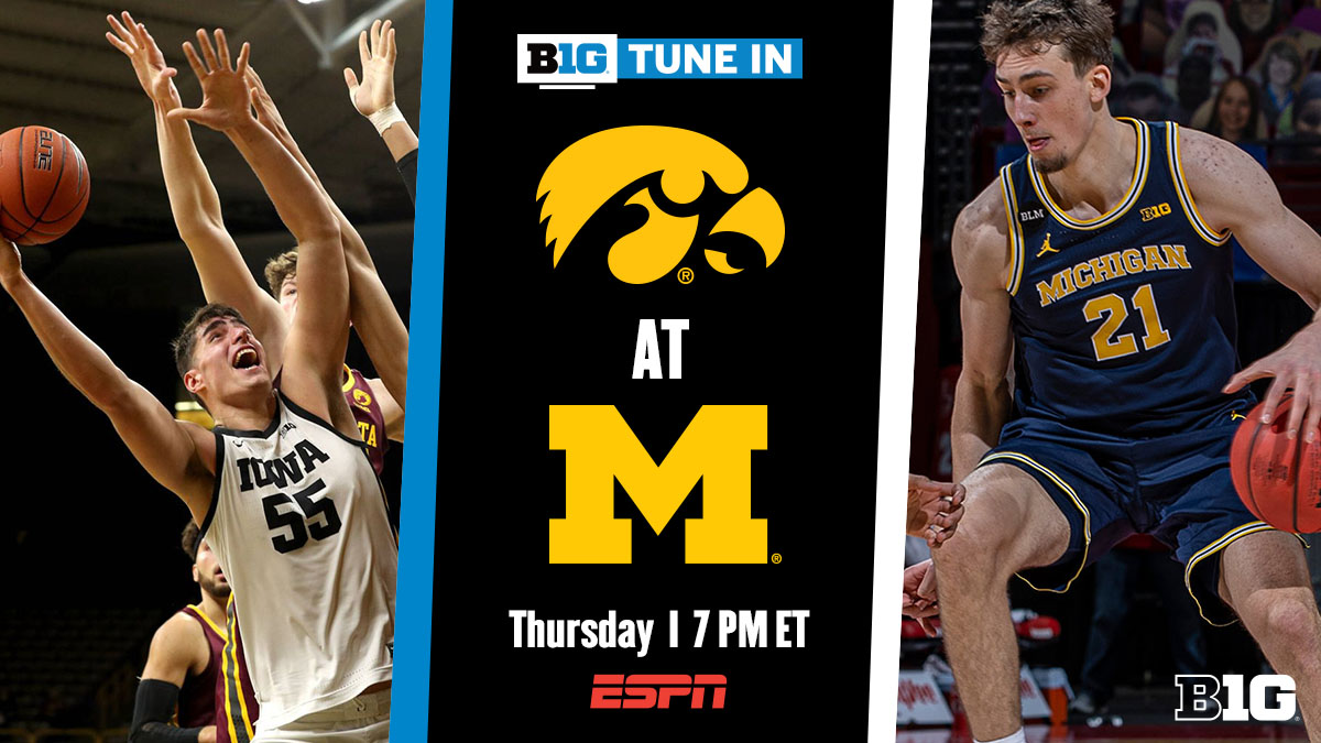 🔥 #B1G TUNE IN 🏀 #B1GMBBall @IowaHoops 🆚 @umichbball  📅 Thursday, February 25 ⏰ Tip Off at 7 PM ET 📺 @ESPN
