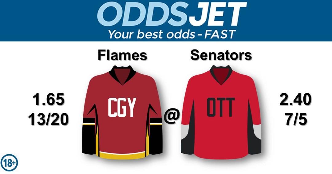 #NHL, #HockeyIsBack,   #Flames, #CofRed, #CalgaryFlames, #GoFlamesGo, vs. #Senators, #Sens, #GoSensGo, #OttawaSenators, Get your best odds - fast at