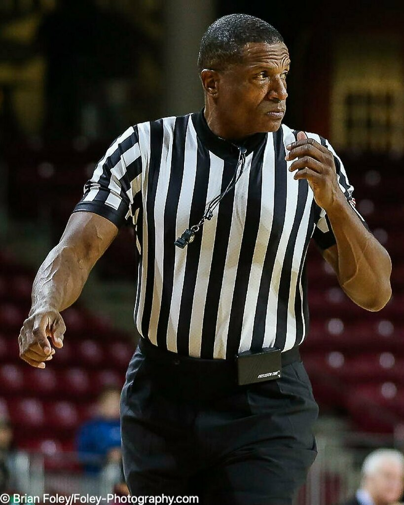 """The #ncaabasketball tournament is coming soon so we know good old """"TV"""" Teddy Valentine will be getting some games. Here is a photo of him reffing a game I did between @iupui_jaguars @iupuimbb and @bceagles @bcmbb during the 2018-2019 season. #picoftheday #photooftheday #pict…"""
