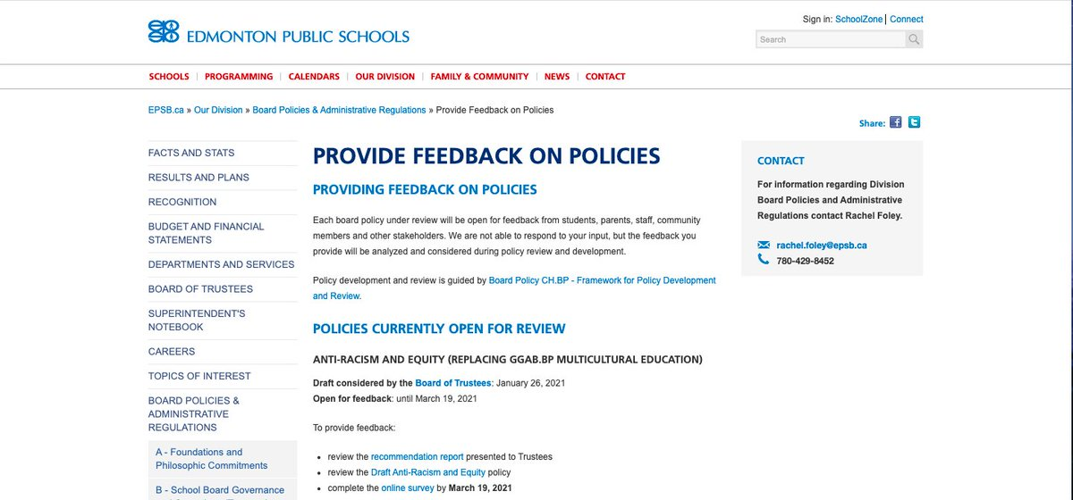 We encourage you to provide Edmonton Public Schools feedback on their Anti-racism and Equity Policy.   Fill-in the survey here:  and visit  for the full policy report.   #antiracism #policy #EPSB #education