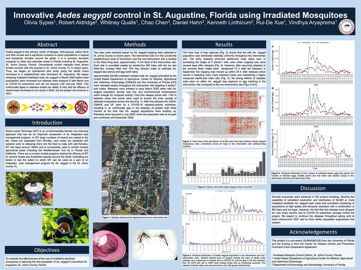 Today I virtually attended @EPI_UF Research Day. I was so proud of my team @AnastasiaMCD poster showing our results in releasing sterilized #mosquitoes .  #scienceiscool #SARS #education #Science #Entomology #WomenInScience #InternationalWomensDay #innovation #chemistry #COVID19