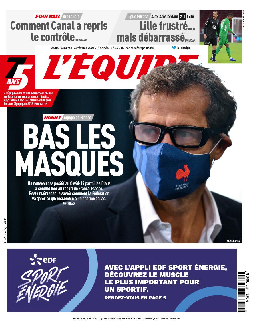 La une du journal L'Équipe du vendredi 26 février.