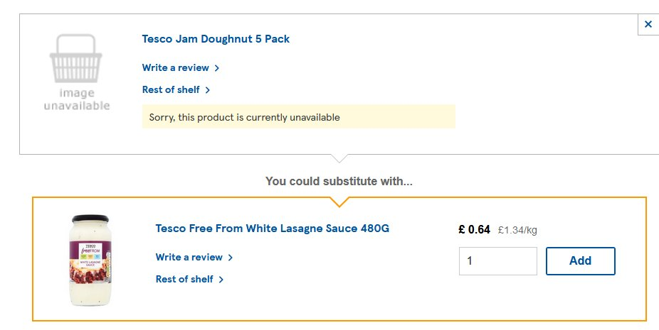 Um. @Tesco your substitutions AI is off its meds again: