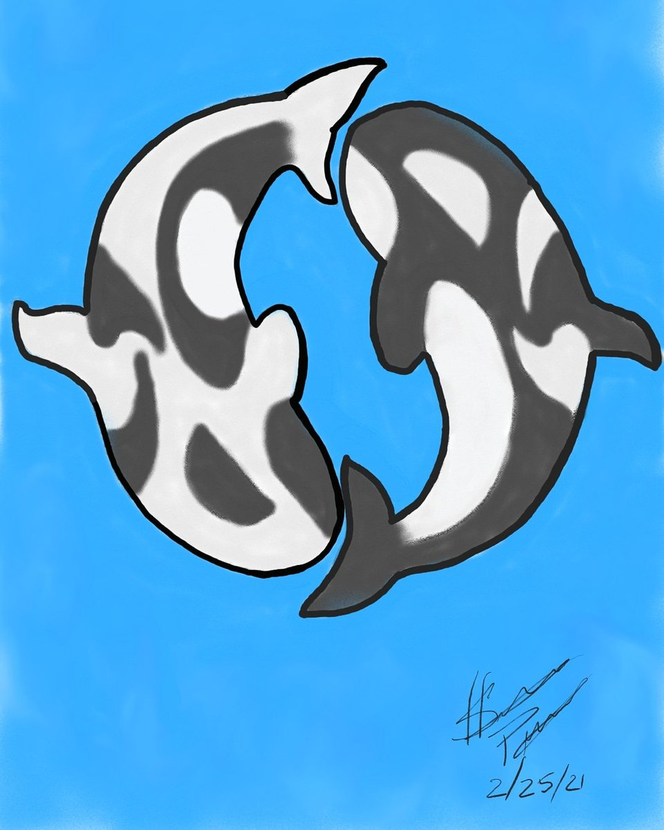 Finally Finished  #yingandyang #killerwhales #drawing did it on #PENUP kinda hard drawing on phone lol still like it tho
