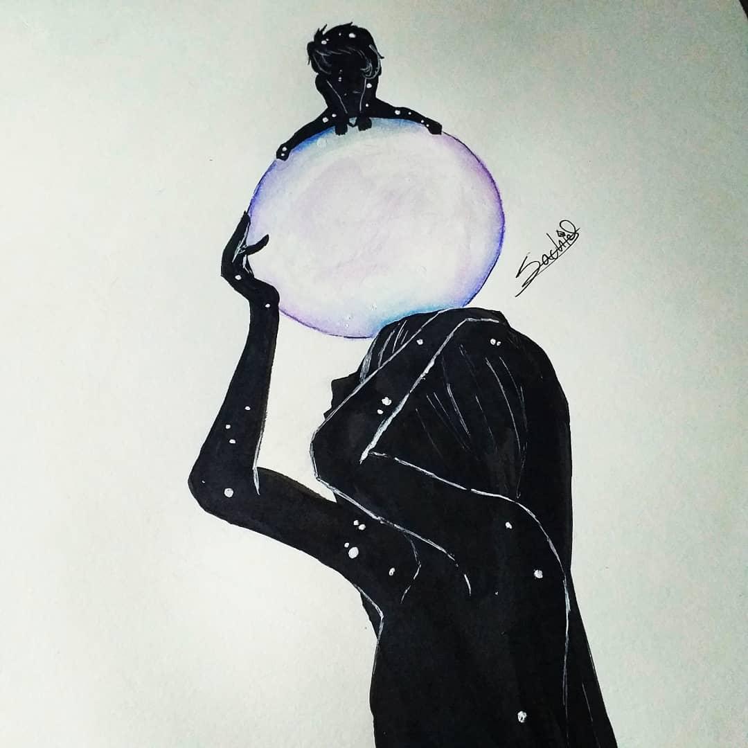 🔮 Don't worry, when your bubble breaks, I'll be here catch you.   🔮 No te preocupes,  cuando tu burbuja se rompa, yo estaré aquí para atraparte.  -------------- Tags: #traditionalart #blackandwhite #trust #bubble