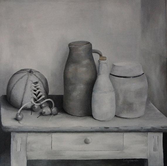 Surreal Melon Still Life  Vintage Look  #surrealism painting art #blackandwhite