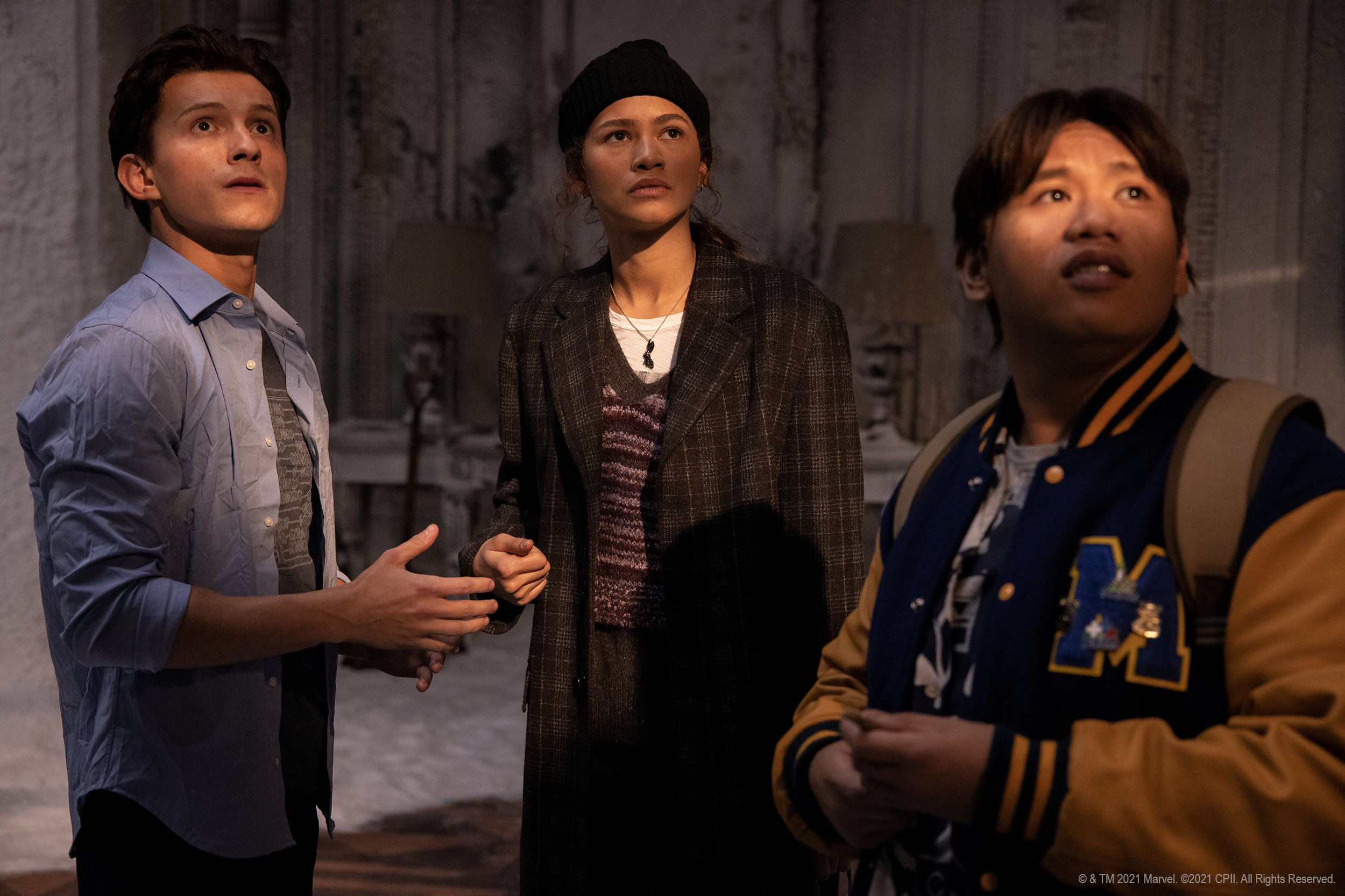 "Peter Parker/Spider-Man (Tom Holland), MJ (Zendaya), and Ned Leeds (Jacob Batalon) in ""Spider-Man: No Way Home"" (2021)"