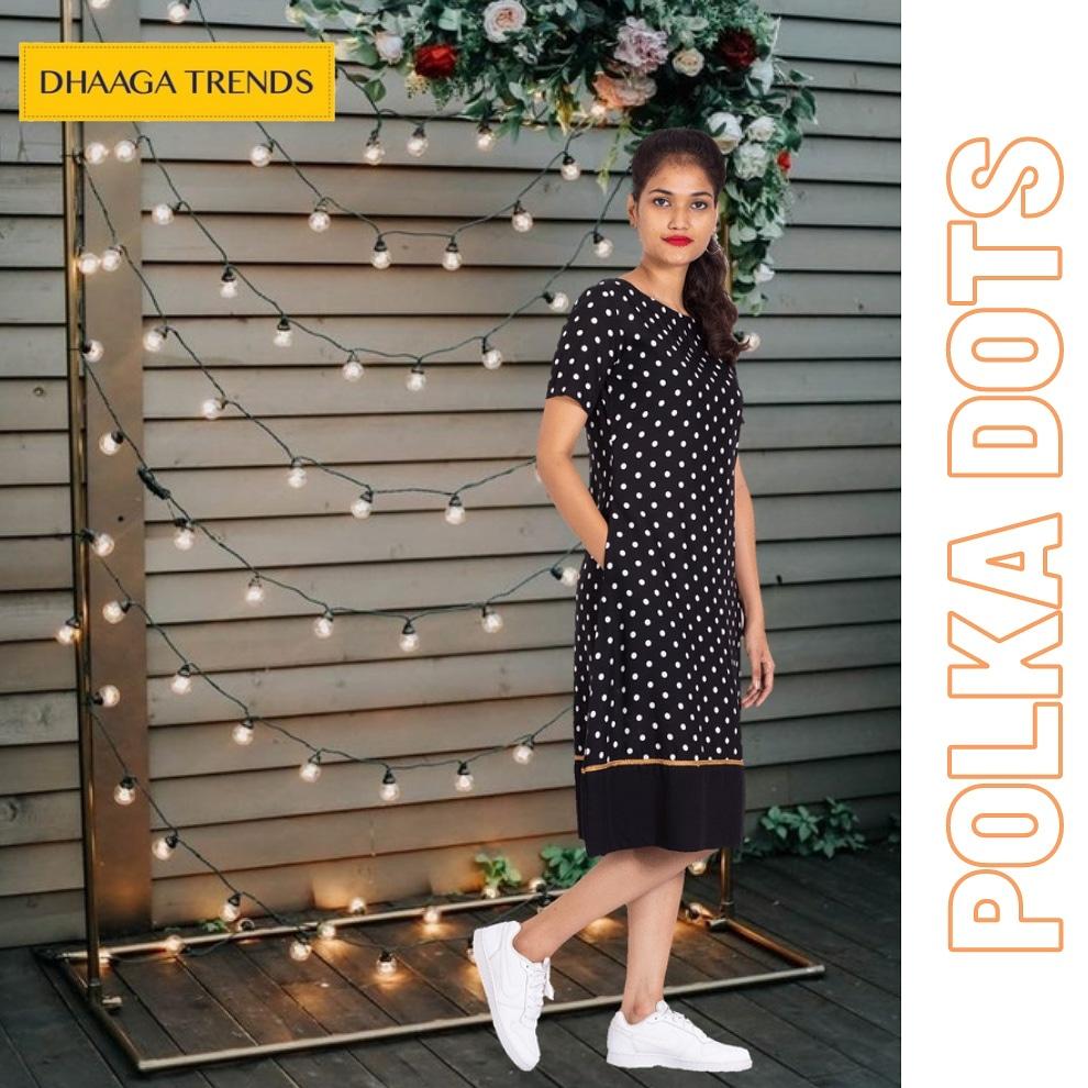 Trendy black Polka doted Frock with Gold line boarder    #polks #polkafashion #polkafashion #frocks #blackandwhite #blacklove #dots #pocket #womensweardaily #womensstyle #womens #westernwear #indianwearlove #partyweardress #partywear