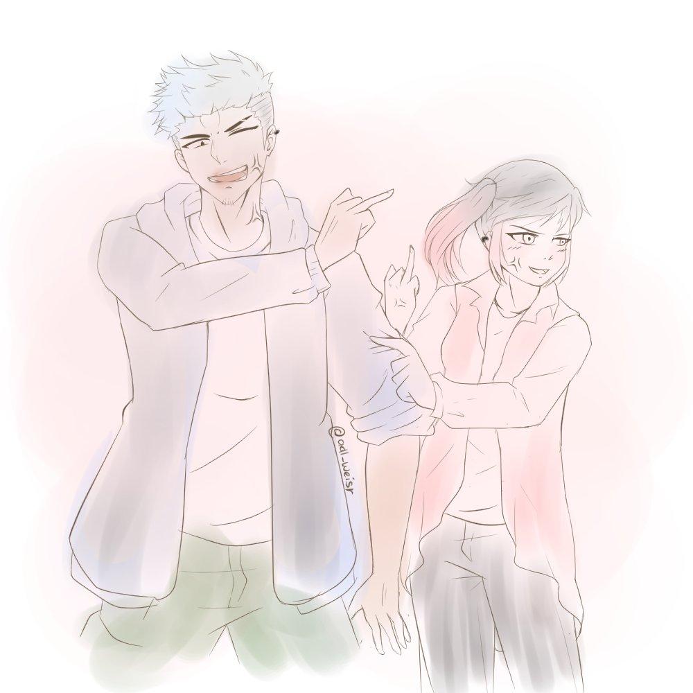 sketch of a couple (?) . . Kok ya gak bisa gambar yang imutan dikit? #digitalart #anime #drawing