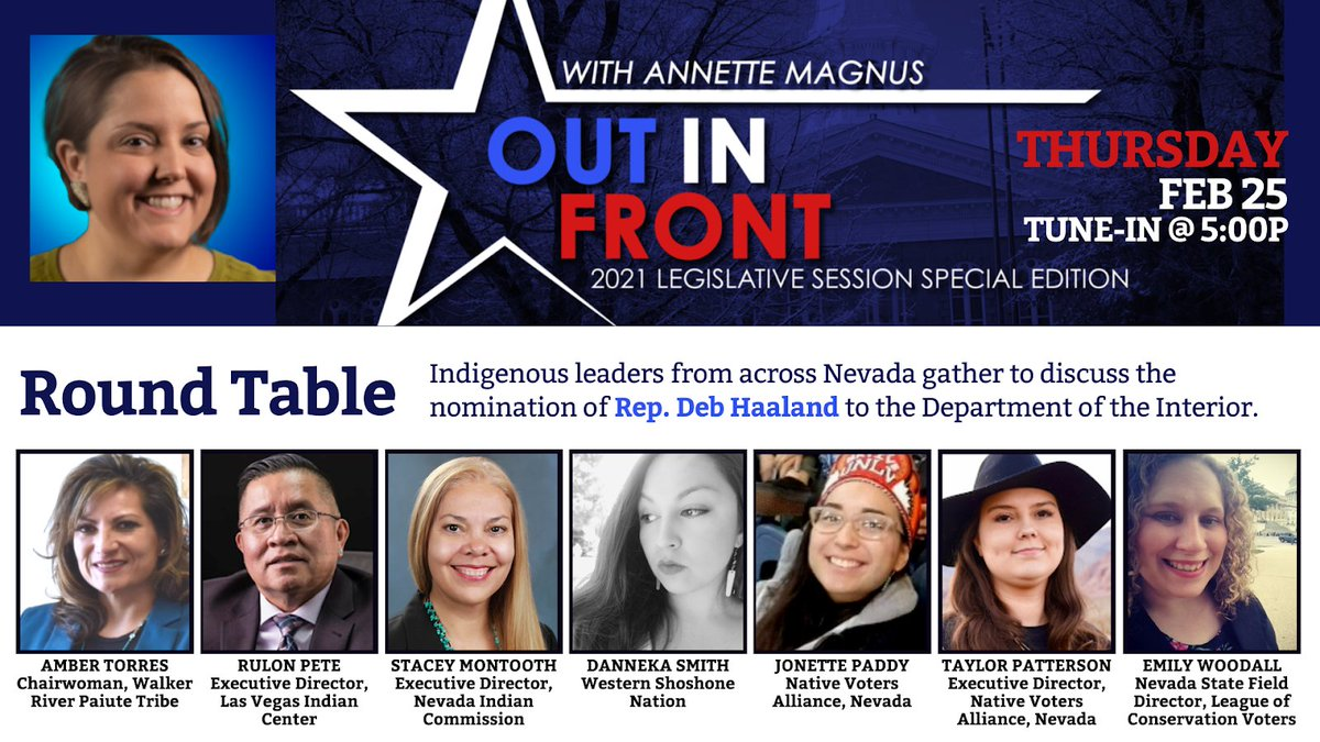 Starting in 1 hour - #OutInFrontWithAnnette discusses #DebforInterior with a panel of Nevada's Indigenous leaders from across the state - tune in on Facebook: