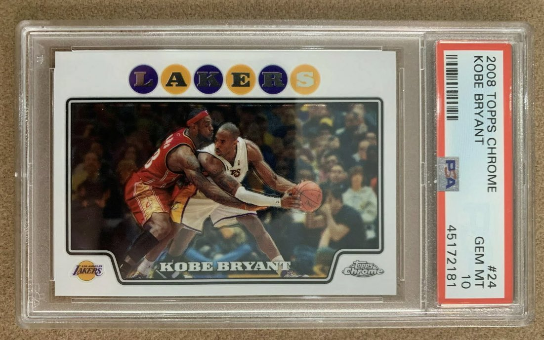 The @WooterApparel team gifted this 2008 Topps Chrome Kobe/LeBron PSA 10 card ($15,000 on eBay) to Floyd Mayweather for his birthday. 👀  Mayweather said he plans to have it signed by @KingJames.