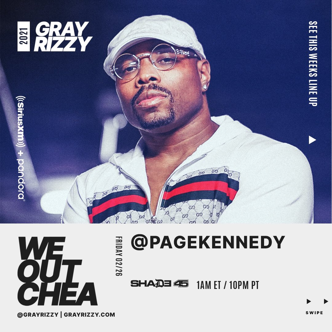 Tune into The WeOutchea Show TONIGHT with @GrayRizzy and special guest @PageKennedy for his new project #PAGE (dropping at Midnight!) + the premiere of #SetUp featuring @xzibit! Show starts at 12a ET / 9p PT! #WEOUTCHEA