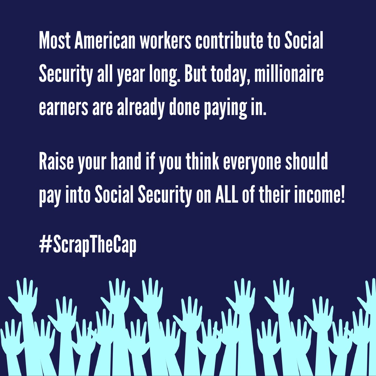 """Let's say it again: """"It is time to #ScrapTheCap so the ultra-rich contribute at the same rate as everyone else and we can expand—not cut—Social Security benefits.""""  shared via @BernieSanders  at  ."""