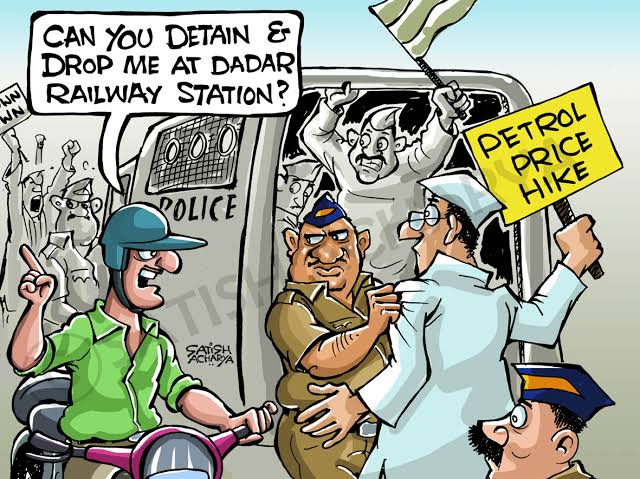 Dr.@Swamy39 ji, Here is a guy asking for drop from Police --- #PetrolPriceHike  Cartoon by @satishacharya on #PetrolPrice Hike.