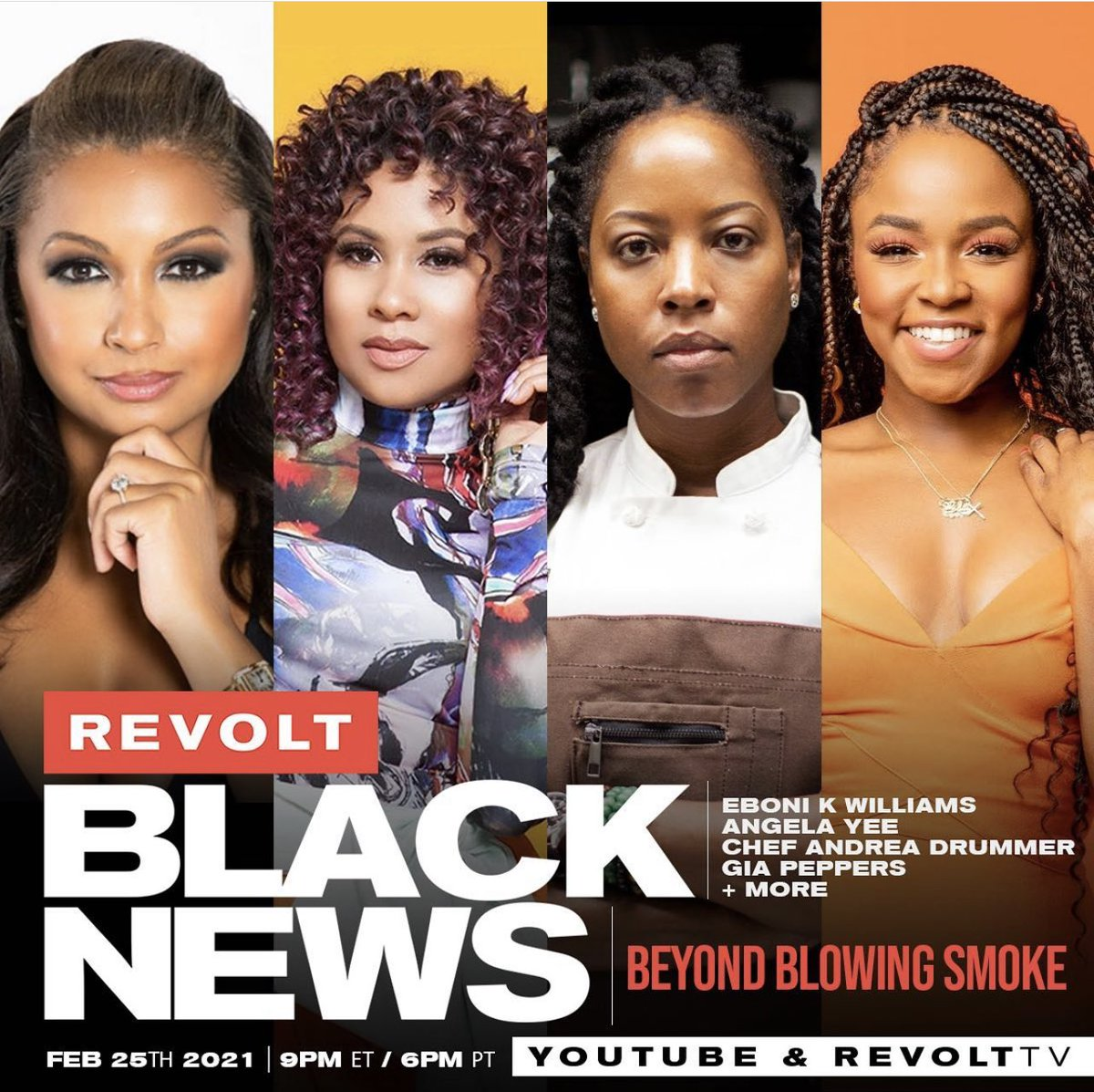 """Hey Twitter Fam, make sure you catch """"Big Sis""""(😆)@EboniKWilliams on @RevoltTv Black News tonite along with all her guests & good ppl at 9 PM EST💪🏾  👀 on @Youtube I'm with all the💨"""