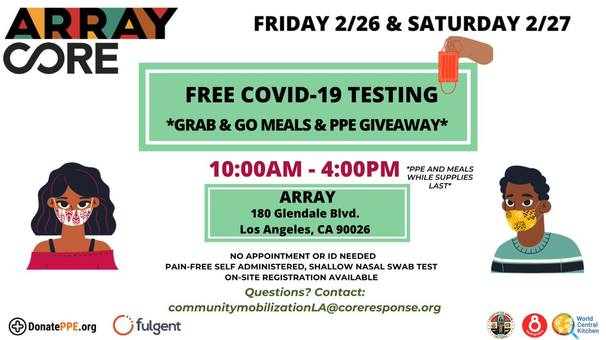 Visit the ARRAY Campus this Friday, 2/26 or Saturday, 2/27 to receive a FREE COVID test! Thank you @COREResponse for joining us in providing tests for the local community. No Appointment or ID needed!   PPE + Grab & Go meal Giveaways while supplies last. See flyer for details!