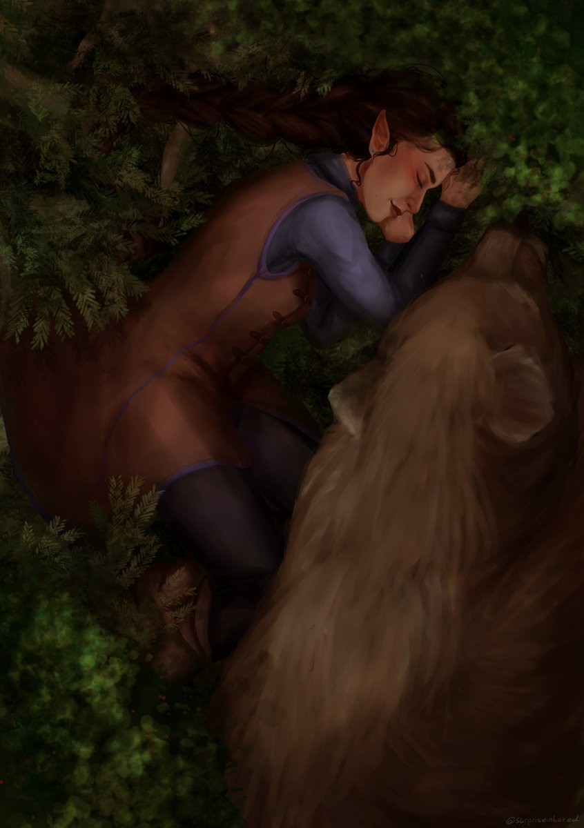 Grand Mistress of the Grey Hunt and her loyal companion napping in the woods   #vexahlia #criticalrole #criticalroleart #criticalrolefanart