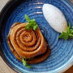 "Remember to indulge in dessert.  Larch ""Cinnamon Roll"", Pine Honey, Mutsu Apple Butter, Chantilly Cream"