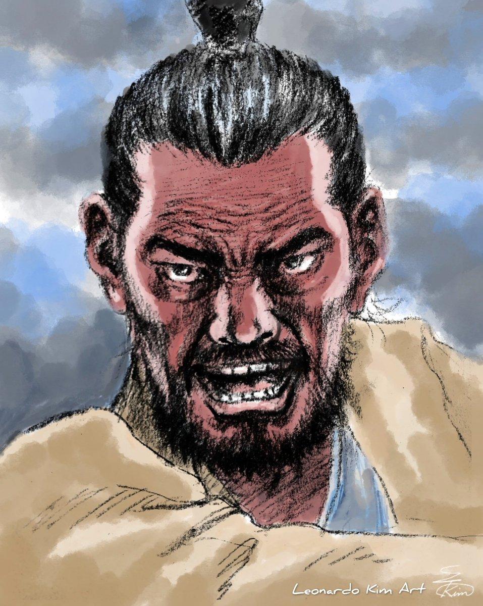 The Color & Sepia  Korean Old Man  #sketch #Drawing #character #illustration #illust #art #artwork #painting #conte #sepia #warrior #comics #스케치 #드로잉 #캐릭터 #일러스트레이션 #일러스트 #아트 #아트웍 #무사 #콘테 #세피아 #만화