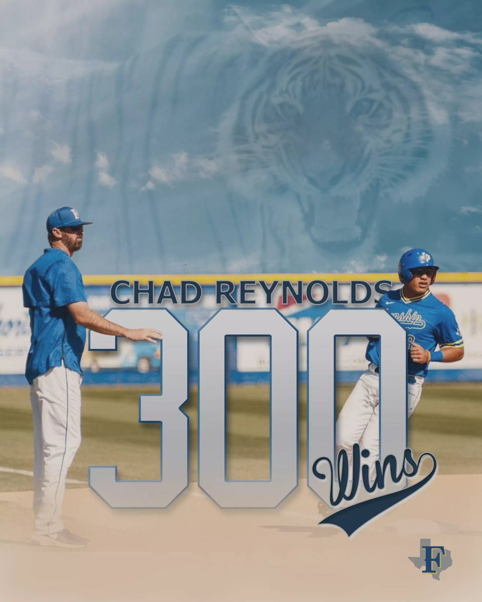 🚨RECORD ALERT🚨 Congratulations are in order for @FrenshipBSBL skipper Chad Reynolds for earning his 300th victory as a Head Coach! @charey33 played for the Tigers and has spent his entire head coaching career in the blue and gold! Were thankful for how you lead these Tigers!