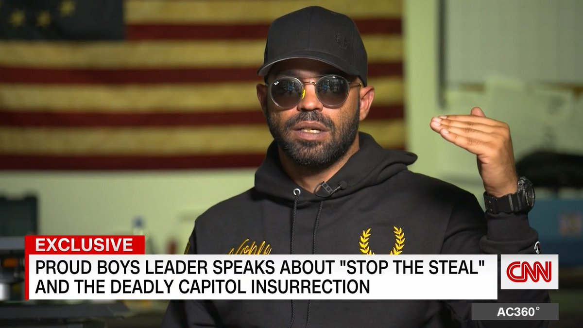 """""""I will celebrate the moment that the government does fear the people,"""" says Proud Boys chairman Enrique Tarrio in an exclusive interview with @sarasidnerCNN."""
