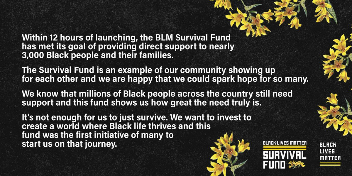 The #BLMSurvivalFund reached its goal of providing cash relief to nearly 3,000 Black ppl within just 12 hrs of launching. It's clear there is so much need out there.  This was our 1st initiative at investing in Black communities—we don't just want to survive. We want to thrive 🌻