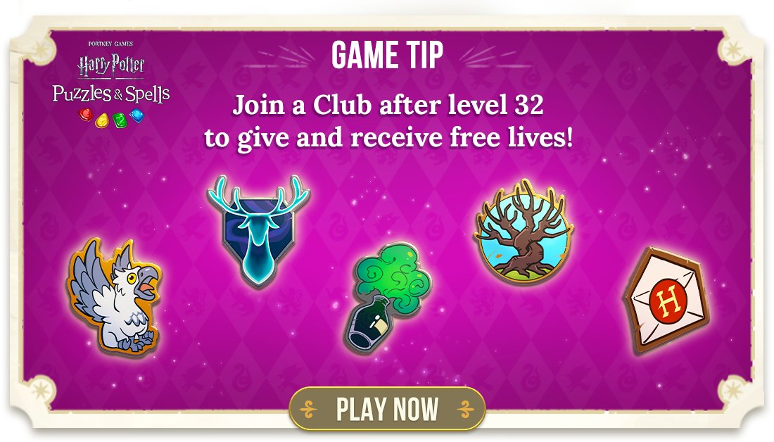 Join a Club to meet other players, find new friends and unlock amazing new rewards together!  Join a Club NOW ➡️   #HarryPotterPuzzlesAndSpells #Match3 #HarryPotter