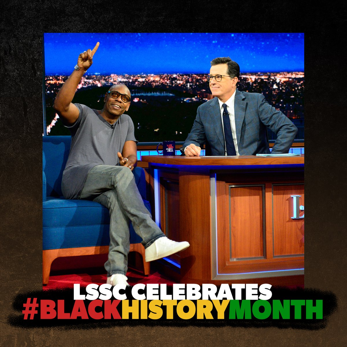 "@ArsenioHall Dave Chappelle is a comedian, actor, writer and producer who made his first visit to the Ed Sullivan Theater in 1994. The ""Chappelle's Show"" star and Mark Twain Prize recipient made his long-awaited return to the theater to interview with Stephen in 2017. #BlackHistoryMonth"
