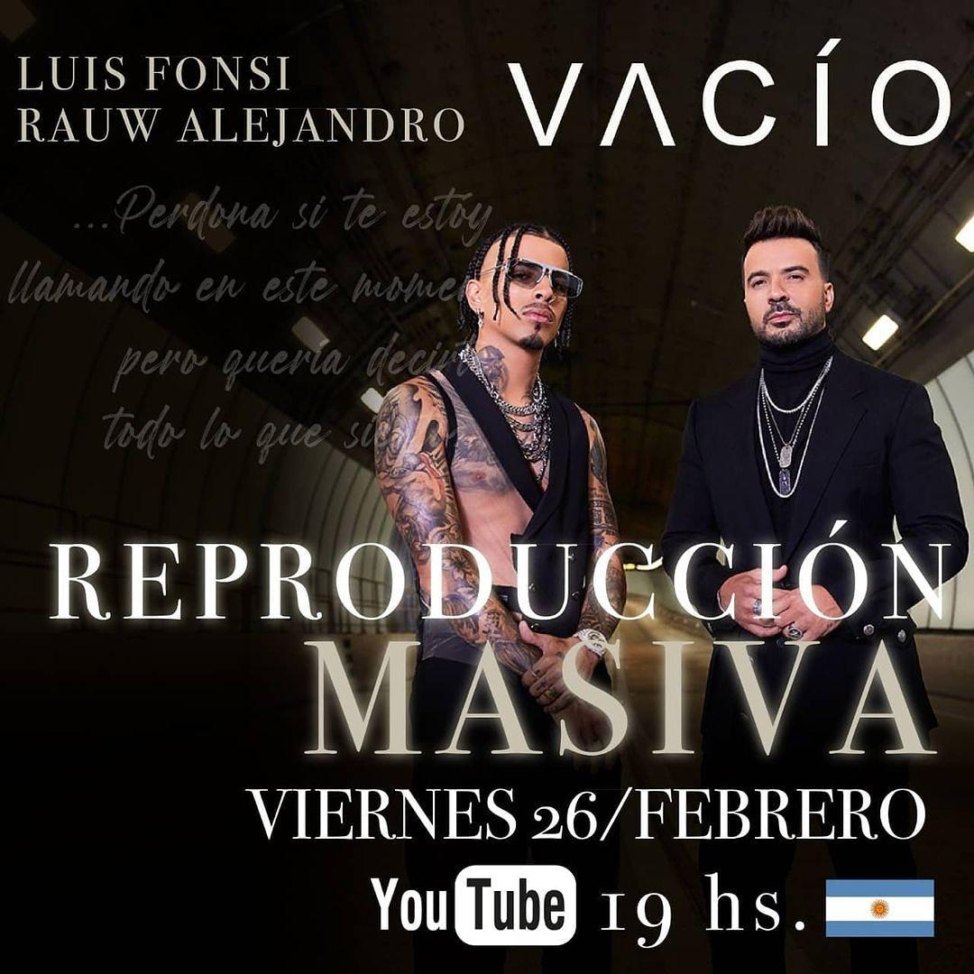 ¡M A Ñ A N A! 👉 Unite a nuestra reproducción masiva de #Vacio en #YouTube 🎶 lo nuevo de #LuisFonsi junto a #RauwAlejandro ⏰ 19 hs. 🇦🇷 @Fonsisangels 😇🇦🇷