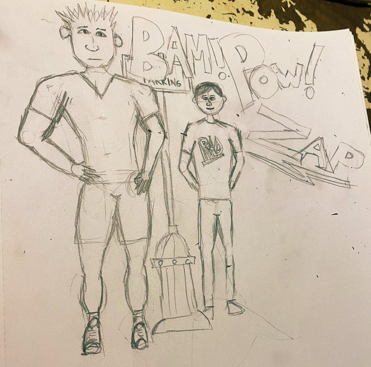 Here's a big dude and his little bro. #art #pencil #blackandwhite #bigdude #littlebro #sketching
