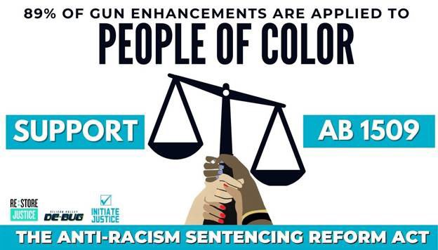 Sentence enhancements add DECADES to a person's sentence & disproportionately hurt BIPOC. I introduced AB 1509 w/ @AsmMarkStone, @Ash_Kalra, @AsmCarrillo & @Scott_Wiener to reduce firearm sentence enhancements that fail to make us any safer. Press release: a25.asmdc.org/press-releases…