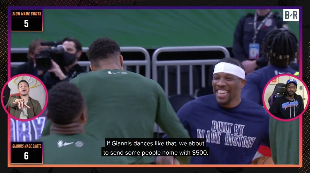 """""""It's something going on in the 'Waukee water""""   @Giannis_An34 showed off his moves in the Pregame Picks show 🤣  Tap in to next week's show with @famouslos32 and @PeeWeeDaPlug to win more cash prizes on the B/R app"""