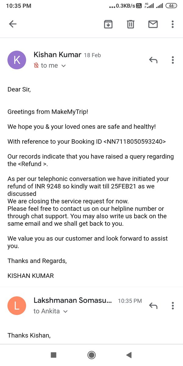 #PoorSupport as usual by #Makemytrip in terms of refund due to Covid ticket cancellation in @makemytrip @makemytripcare in @EmiratesSupport @emirates @HardeepSPuri @DGCAIndia @MoCA_GoI @PMOIndia #PleaseHelp #Refund
