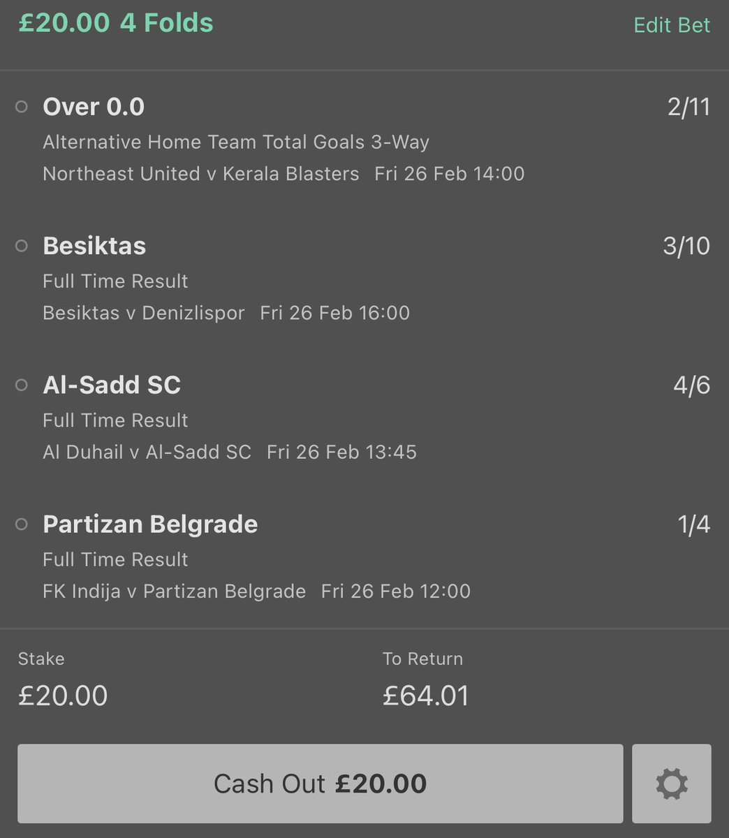 Afternoon Banker 💰  North East Utd to score 🇮🇳  Besiktas to win 🇹🇷  Al-Sadd to win 🇶🇦  Partizan Belgrade to win 🇷🇸   Like and follow if you're on ❤️  #inplay #betting #tips #football