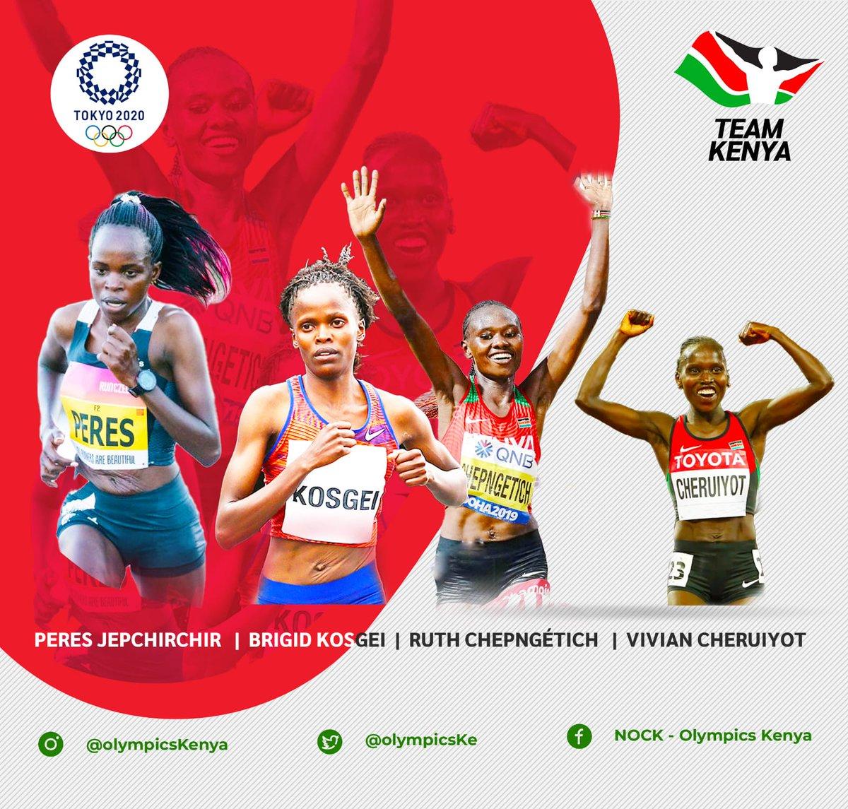 #TeamKenya Marathon queens 👑 Comment on this lineup. Excitement is checking in for #Tokyo2020 @BrigidKosgei @PeresJepchirch3 Ruth Chepngetich @VivianCheruiyot