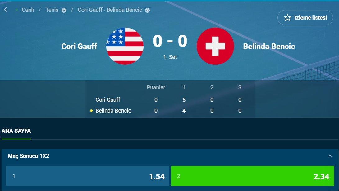 Tenis canlı / Banko tekli 🎾  Oran: 2.34 ✅  #iddaa #tenis #canlıbahis #AusOpen  #ATP #ATPCup #ITF #gauff #bencic