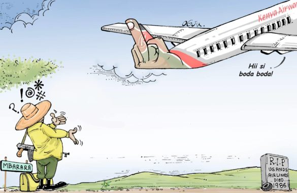 #ThrowBack: A 2015 cartoon in which Professor Ogon depicted how Kenya Airways snubbed a request from President Museveni to be picked up from Mbarara and transported to Nairobi for the East African Community Heads of State Summit. @chrisatuk ✍
