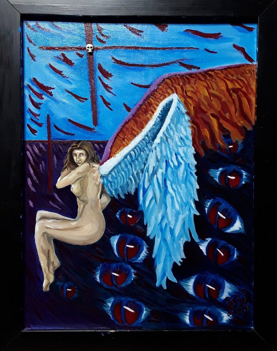 Ángel . Cuadro rehecho originalmente lo realice en 2007.  . Óleo sobre lienzo 30x40cm. Siganme en Instagram como ekbalam12 #twitch #arte#angeles #dibujo #pinturas#rostros#óleo#colores#trazos#acuarela#acrilico#inspiracion #art#drawing#engel #ekbalam12
