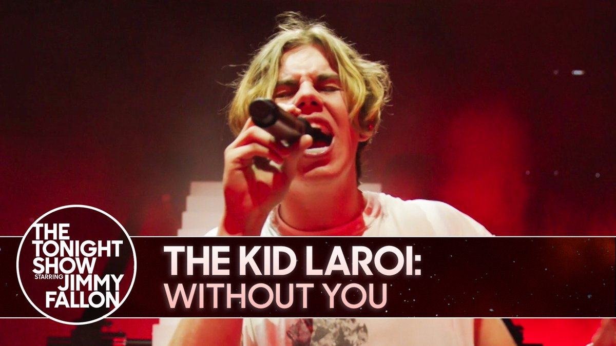 """🎶 #FallonTonight Tunes 🎶  @thekidlaroi makes his TV debut performing """"WITHOUT YOU""""  Watch the full performance ▶️"""