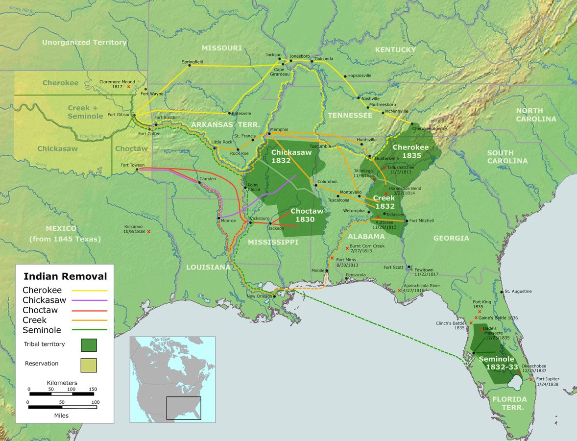 Once Andrew Jackson became President, he forced Native people from their homes at gunpoint.  Where did the Trail of Tears lead? For the Cherokee nation, from today's northwest Georgia to northern Oklahoma.  #DebForInterior #Suffrage101