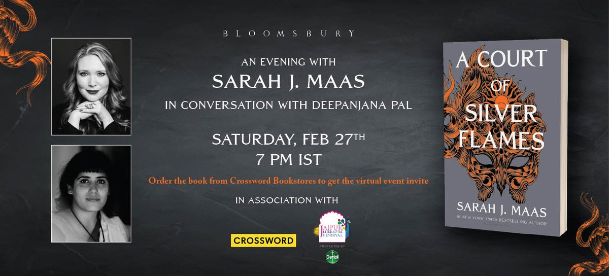 We invite you to the most awaited evening with Sarah J Maas in conversation with Deepanjana Pal on February 27th at 7PM IST. Order your copy of 'A Court of Silver Flames' here- https://t.co/759QMU5uAa and get a chance to attend the virtual event.  @BloomsburyIndia @SJMaas https://t.co/qlSmNwpmpn