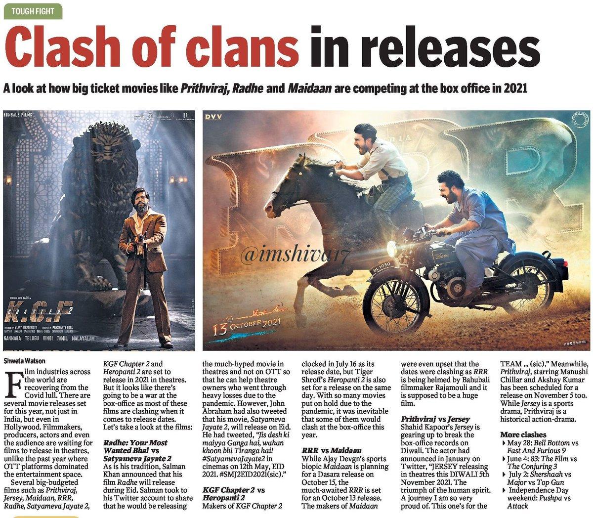 CLASH OF CLANS IN RELEASES   Bollywood's biggies getting ready  for Friday clashes   #KGF2 , #RRR , #GangubaiKathiawadi , #RadheShyam , #Prithviraj  #Maidaan , #Radhe , #Jersey  #MumbaiSaga , #Shershaah  #Major , #SandeepAurPinkyFaraar , #SatyamevaJayate2