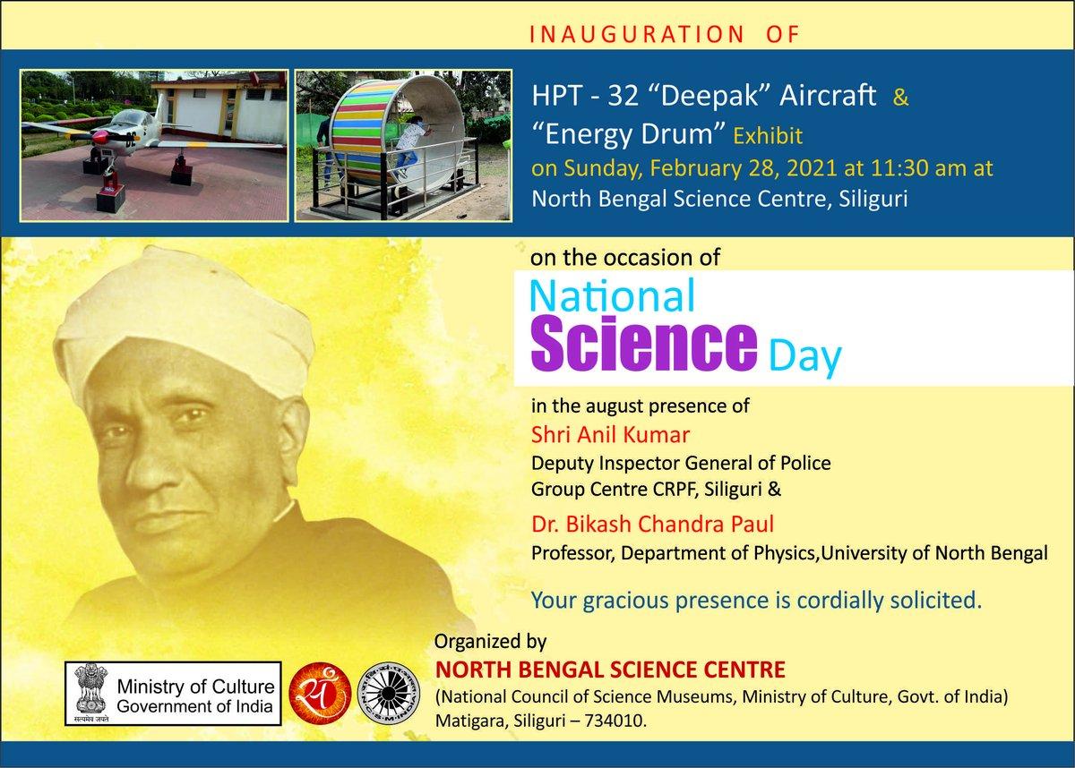 #Invitation: 𝐂𝐞𝐥𝐞𝐛𝐫𝐚𝐭𝐢𝐨𝐧 𝐨𝐟 𝐍𝐚𝐭𝐢𝐨𝐧𝐚𝐥 𝐒𝐜𝐢𝐞𝐧𝐜𝐞 𝐃𝐚𝐲 Your gracious presence is cordially solicited. @nbscsiliguri  @ncsmgoi  #NationalScienceDay #Inauguration #ScienceisFun #Exhibits #SDL #ScienceLearning #Quiz #Siliguri
