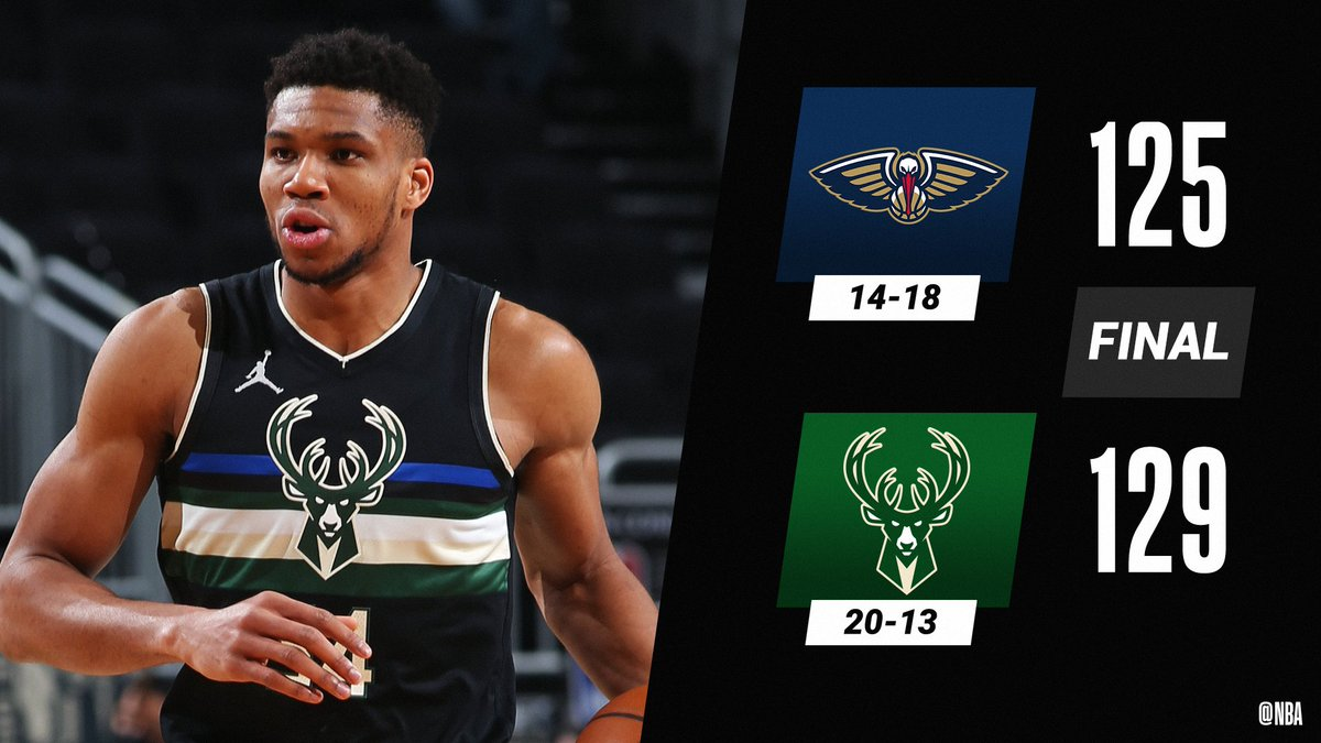 The @Bucks hold on to win their 4th straight game behind Giannis' 38 PTS, 10 REB!  Khris Middleton: 31 PTS, 7 REB, 6 AST Donte DiVincenzo: 24 PTS, 7 REB, 9 AST Zion Williamson: 34 PTS, 8 REB, 6 AST