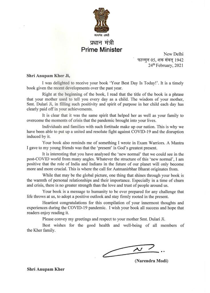 Hon. PM @narendramodi ji ! Thank you for this beautiful & encouraging letter about my book #YourBestDayIsToday. I feel honoured & humbled! You are really an inspirational leader! May you continue to lead us for years. My mother her sends blessings! Your letter is my treasure! 🙏