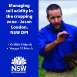 Interested in managing soil acidity in the cropping zone? Jason Condon is a @nswdpi Soils Research Officer and one of our speakers at the Pasture Research Updates in Griffith (9 March) and Wagga (10 March). Tickets close soon, so save your spot now: https://t.co/ct6bBBfEna