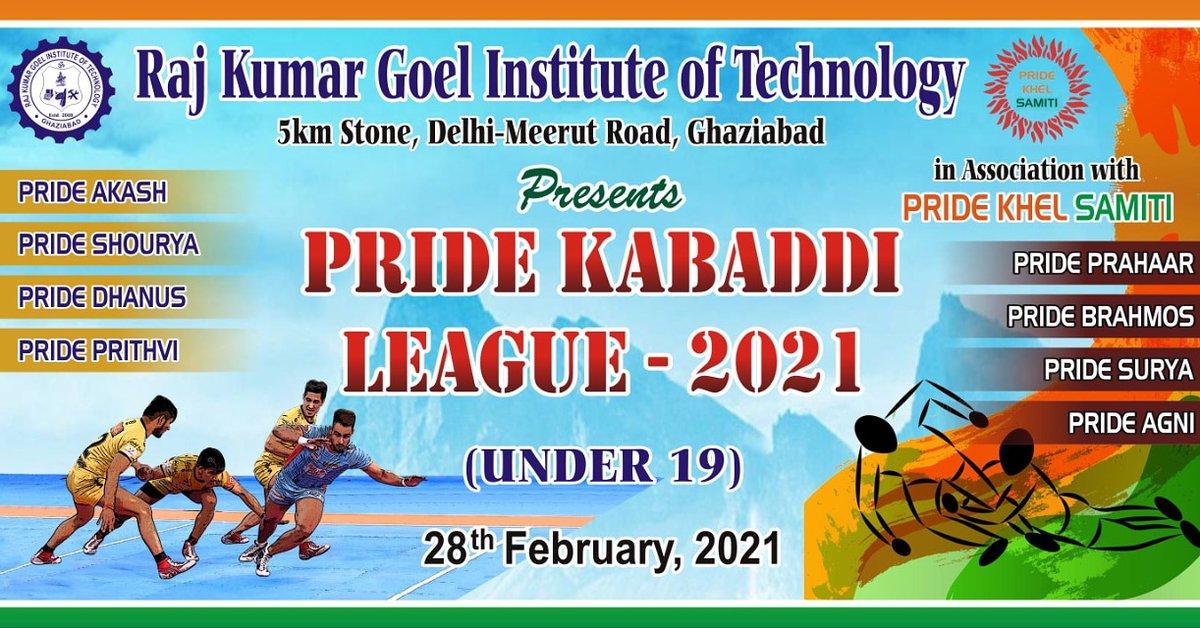 RKGIT Association with Pride Khel Samiti is organizing Pride Kabaddi League - 2021( Under 19)  on 28th February( Sunday at 9 am onwards)  at its  grand Indoor stadium , RKGIT Campus.  #kabaddi #prokabaddi @AKTU_Lucknow @aktuupsee @Vineetkansal2