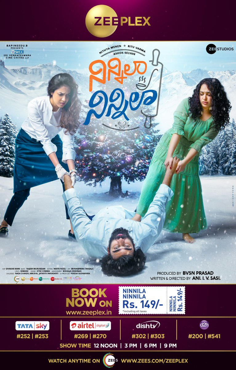 Feel the aromas of Love, Fun & Romance 👨🍳 #NinnilaNinnila now premiering on @ZeeplexOfficial Book your tickets now on zee5.com/Zeeplex @AshokSelvan @MenenNithya @riturv @AniSasiOnO @RajeshMRadio @divakarmani @BvsnP @SVCCofficial @ZeeStudios_ @ZeeMusicCompany