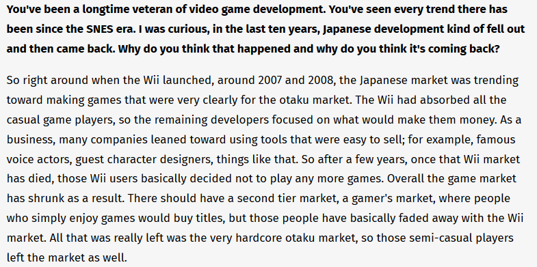 Thinking about that time I interviewed Harvest Moon creator Yasuhiro Wada and asked him a question about changing gaming trends in Japan and he went off for like ten minutes