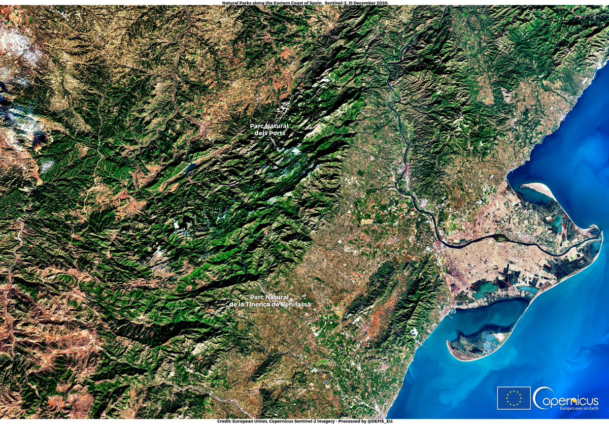 #ImageOfTheDay #ClimateChange has made #Europes forests more vulnerable to natural hazards 🔥🪳🌬️(windthrows, fires or insect outbreaks) More than 60% of European biomass is exposed to such risks ⬇️@CopernicusEU #Sentinel2 🇪🇺🛰️view of 2 highly vulnerable natural parks in 🇪🇸